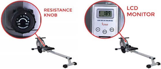 Rowing machine resistance knob